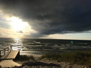 Clouds coving the sun by the Lithuanian coast