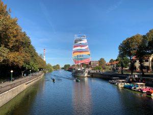 Boat on Dane river in Klaipeda