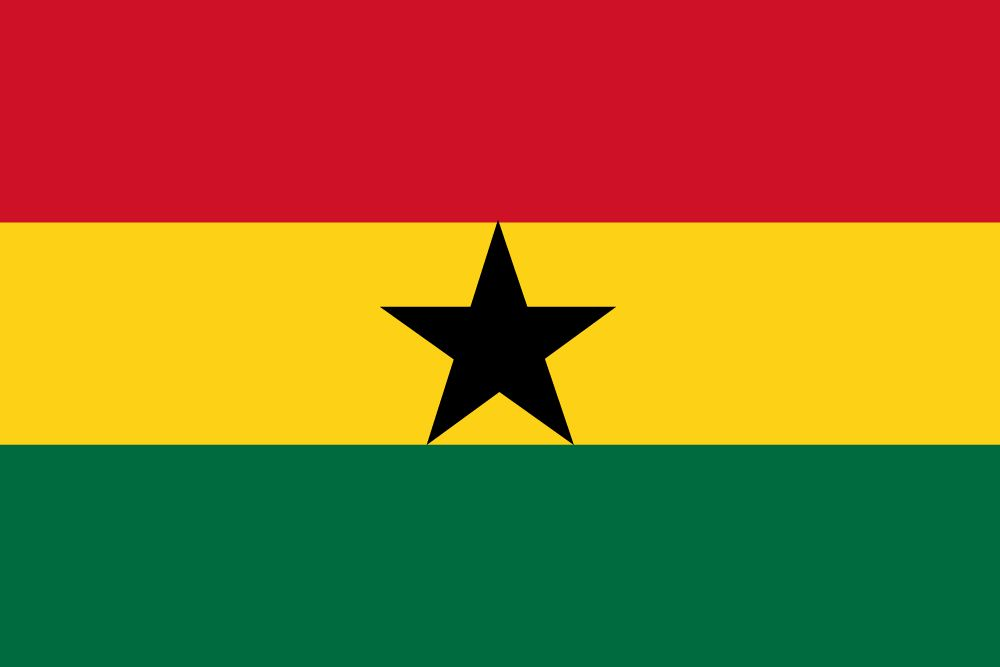 Ghana flag with red color, gold color, green color and black start in middle